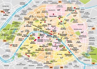 karte und plan die 20 bezirke arrondissements und stadtteile von paris. Black Bedroom Furniture Sets. Home Design Ideas